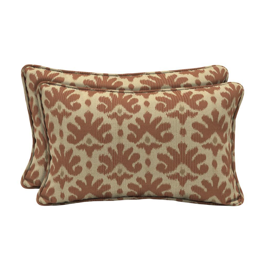 Sunbrella Impala Terra Cotta Lumbar Outdoor Throw Pillow (2-Pack)