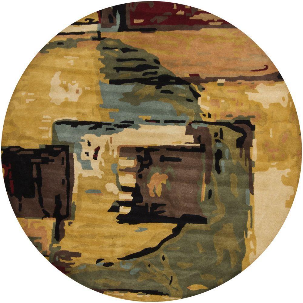 Chandra Nirvana Blue/Green/Beige/Gold/Burgundy 7 ft. 9 in. Indoor Round Area Rug