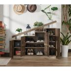 Furniture of America Elias Reclaimed Oak Novelty Staircase Shoe Cabinet With Window Panel Doors