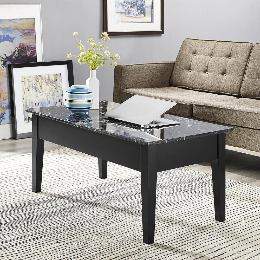 Dorel Erna Black Faux Marble Lift Top Coffee Table