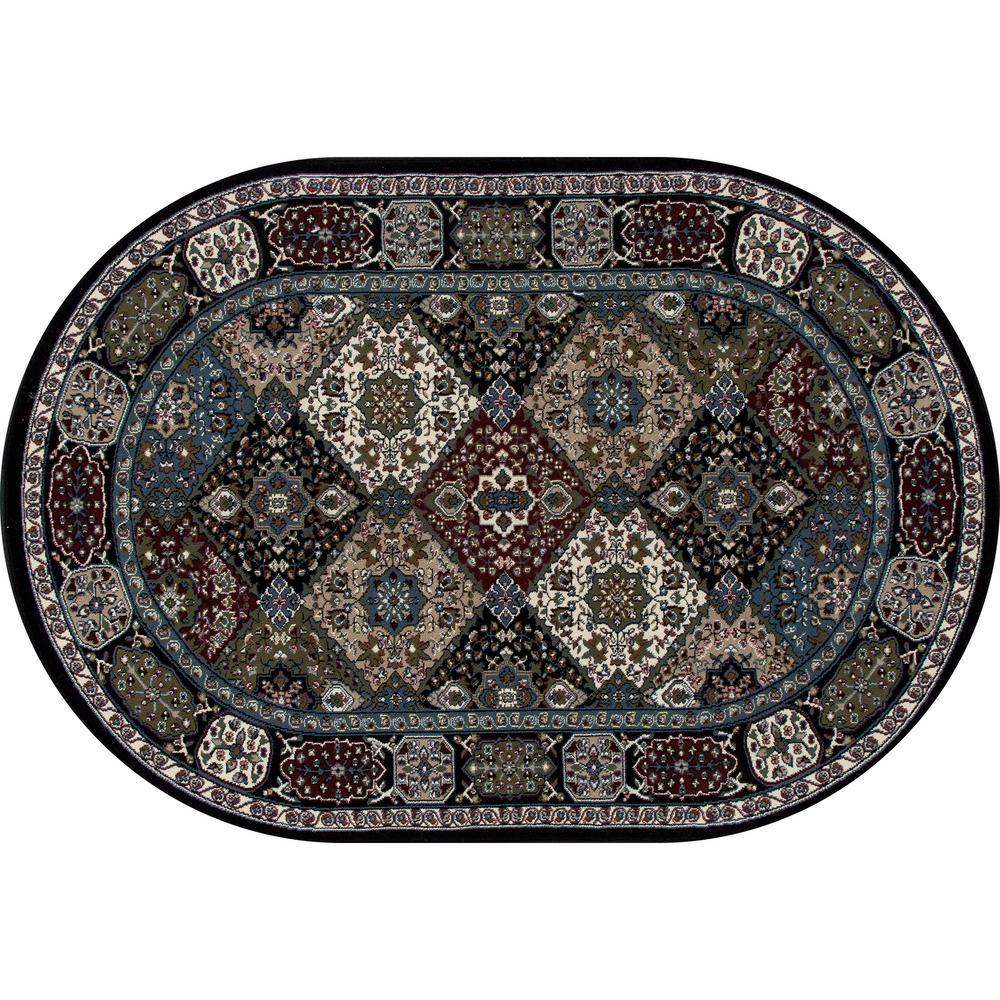 Art Carpet Kensington Patchwork Black 7 Ft. X 10 Ft. Oval