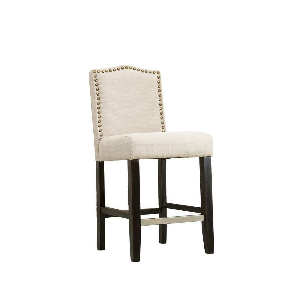 Zachory Beige Linen Upholstered Bar Stools, 24 in., (Set of 2)