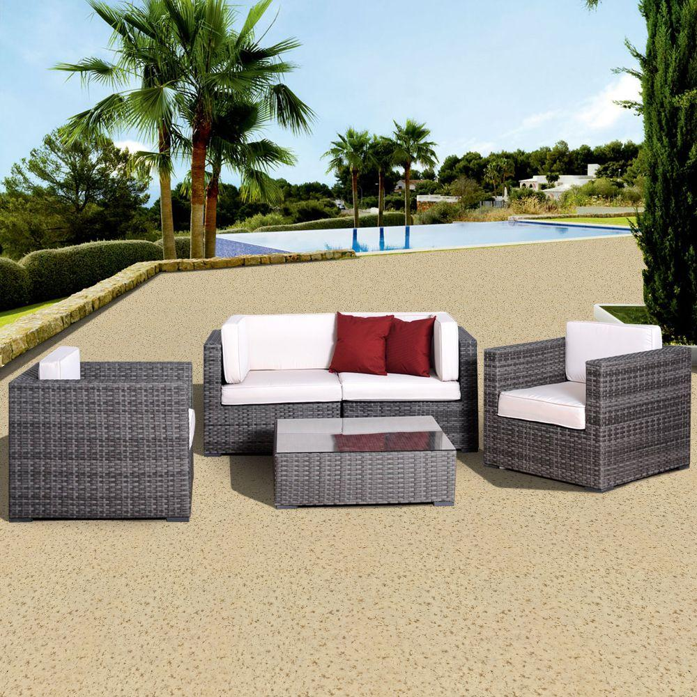 Atlantic Contemporary Lifestyle Metz Grey 5-Piece All-Weather Wicker Patio Seating Set with Off-White Cushions