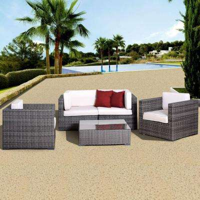 Metz Grey 5-Piece All-Weather Wicker Patio Seating Set with Off-White Cushions