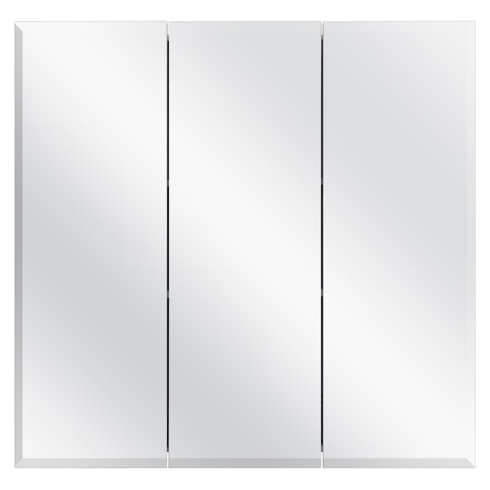Glacier Bay 30-3/8 in. W x 30-3/16 in. H Frameless Surface-Mount Tri-View Bathroom Medicine Cabinet