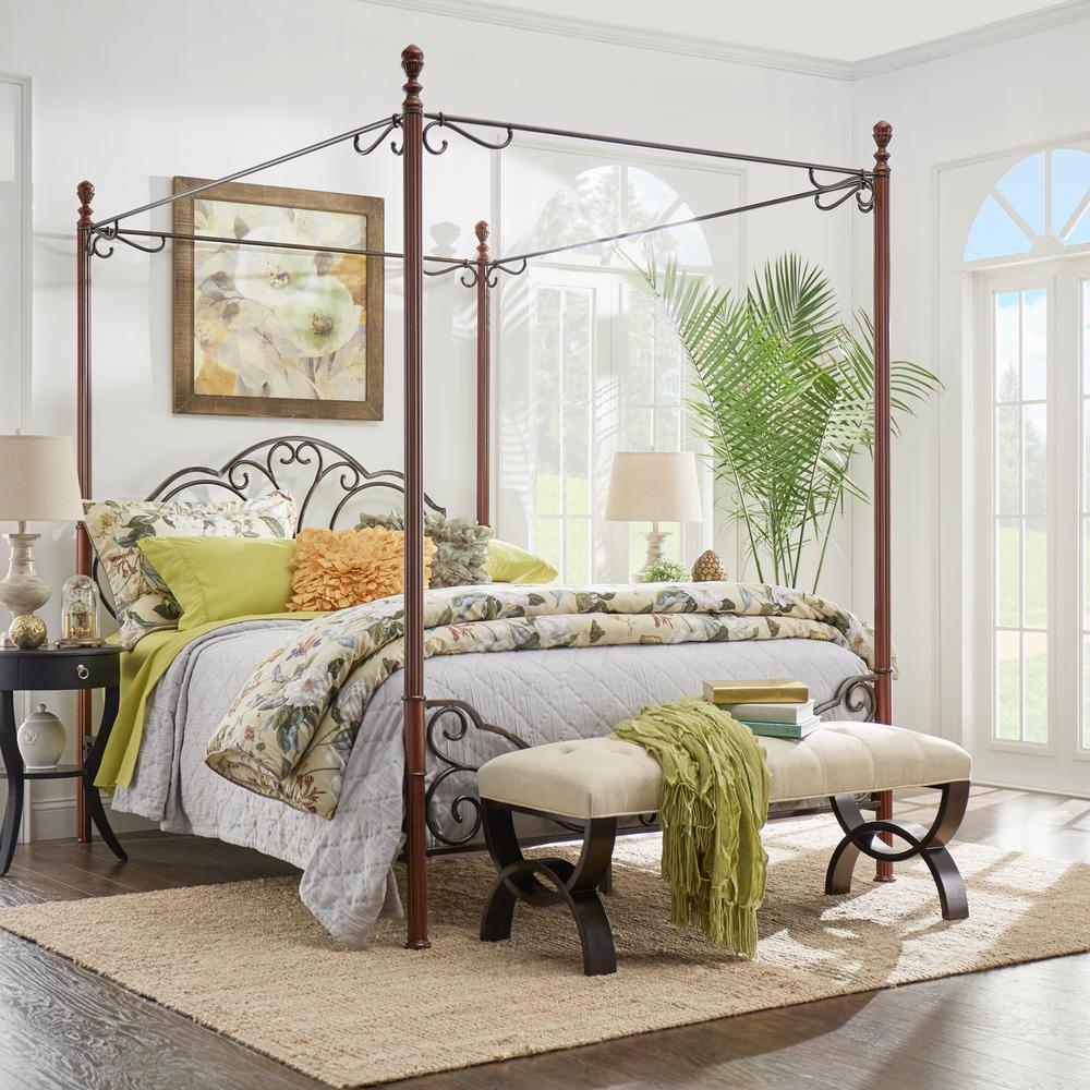 HomeSullivan Bronze Queen Canopy Bed, Bronze Metal