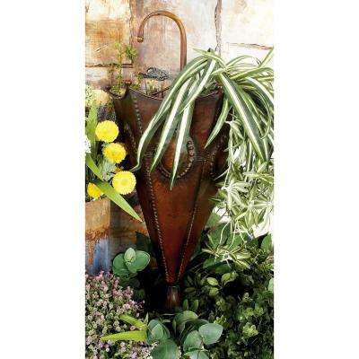 28 in. Distressed Bronze Iron Metal Cone-Shaped Umbrella Stand