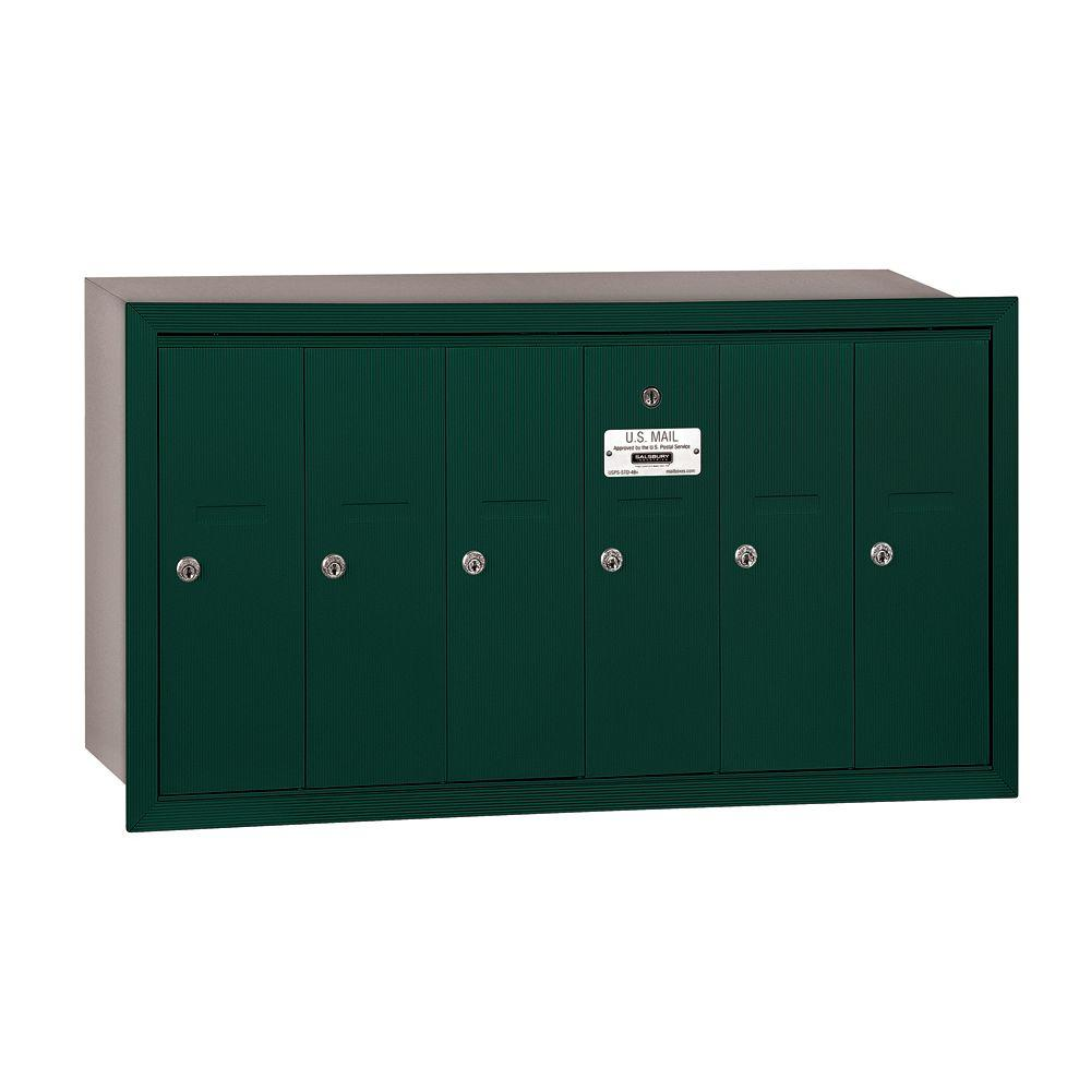 Salsbury Industries 3500 Series Green Recessed-Mounted Private Vertical Mailbox with 6 Doors