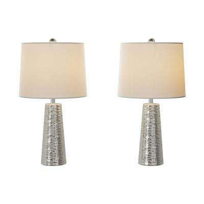 26 in. Hammered Metal Table Lamp (Set of 2)
