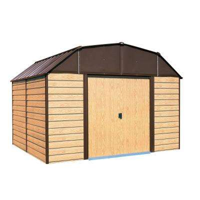 Woodhaven 10 ft. W x 9 ft. D 2-Tone Wood-grain Galvanized Metal Barn-Style Storage Building with Floor Frame Kit