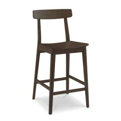 Currant 30 in. Black Walnut 100% Solid Classic Bamboo Bar Stool with Back (Set of 2)