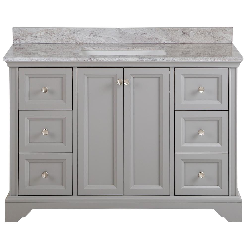 Home Decorators Collection Stratfield 49 in. W x 22 in. D Bath Vanity in Sterling Gray with Stone Effect Vanity Top, Winter Mist with White Sink