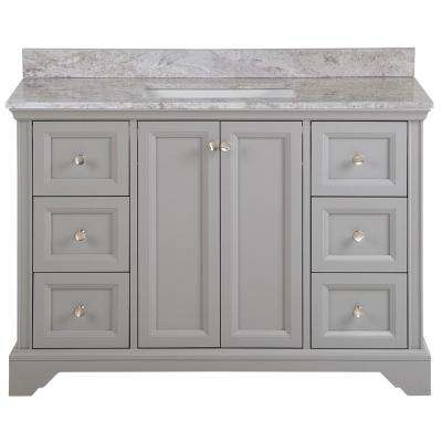 Stratfield 49 in. W x 22 in. D Bath Vanity in Sterling Gray with Stone Effect Vanity Top, Winter Mist with White Sink