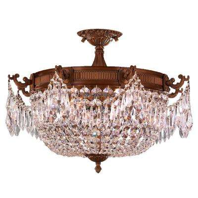 Winchester Collection 3-Light French Gold and Clear Crystal Semi Flush Mount