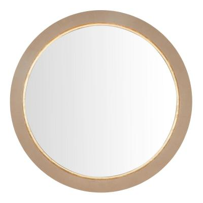 36 in. Diameter Home Decorators Collection Farmhouse Round Framed Concrete Grey Accent Mirror with Gold Inlay