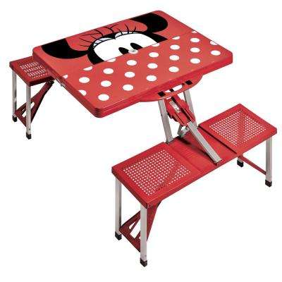 Minnie Mouse Red Picnic Table Sport Portable Folding Table with Seats