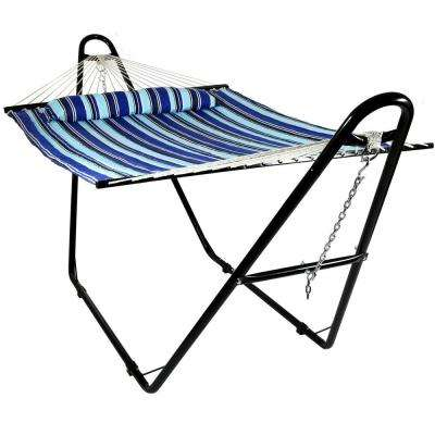 11-3/4 ft. Quilted 2-Person Hammock with Multi-Use Universal Stand in Catalina Beach