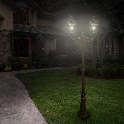 Royal Bulb Series 2-Head Weathered Bronze Integrated LED Outdoor Solar Lamp Post with the GS Solar LED Light Bulb