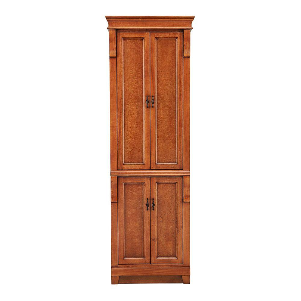 Home Decorators Collection Naples 24 in. W x 17 in. D x 74 in. H Bathroom Linen Cabinet in Warm Cinnamon