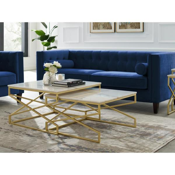 Inspired Home Mikio 30 In Gold Medium Square Stone Coffee Table With Natural Marble Top With Storage Ct132 24wg Hd The Home Depot