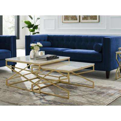 Mikio Gold Coffee Table with Natural Marble Top