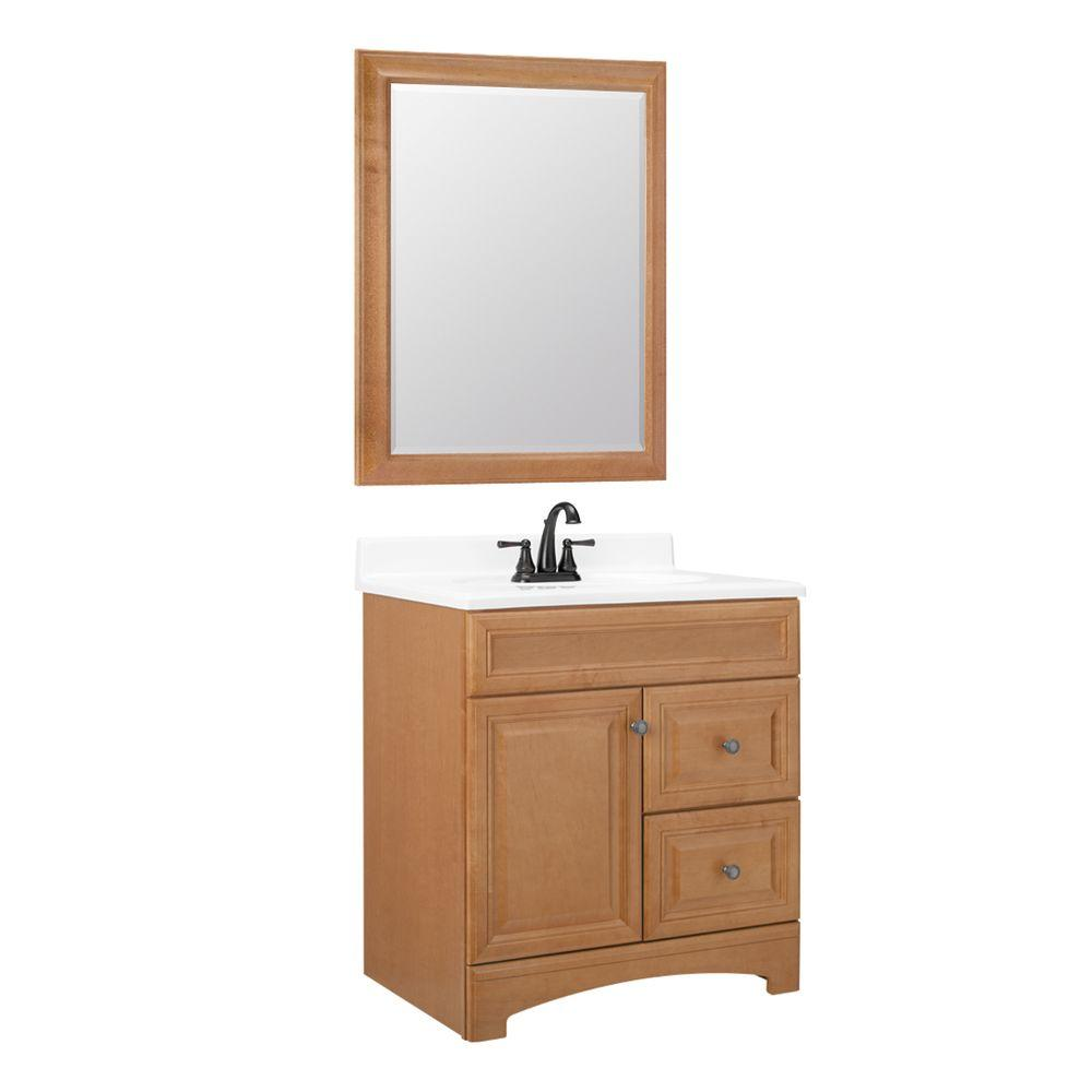 American Classics Cambria 30 in. W x 21 in. D Vanity Cabinet with Mirror in Harvest