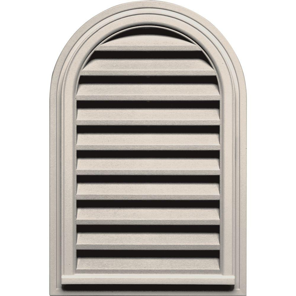 22 in. x 32 in. Round Top Gable Vent in Almond
