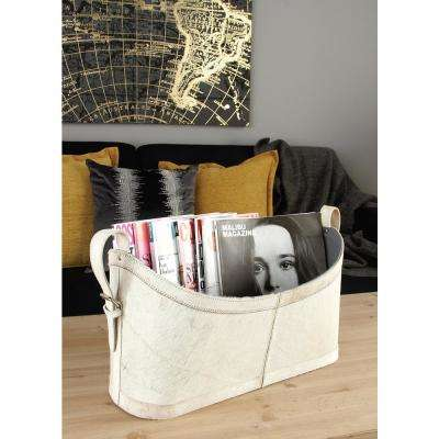 Matte White, Beige and Gray Real Leather with Fur Freestanding Magazine Holder