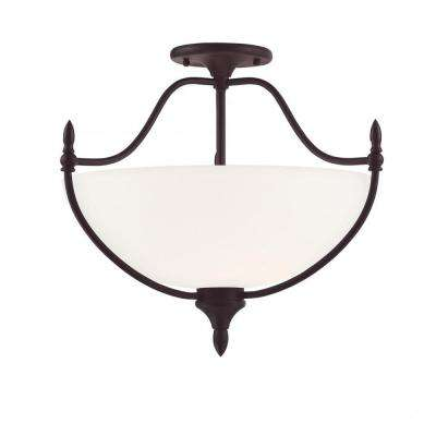 Winston 3-Light English Bronze Semi-Flushmount