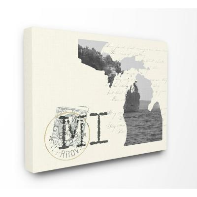 """30 in. x 40 in. """"Michigan Black and White Photograph on Cream Paper Postcard"""" by Daphne Polselli Canvas Wall Art"""