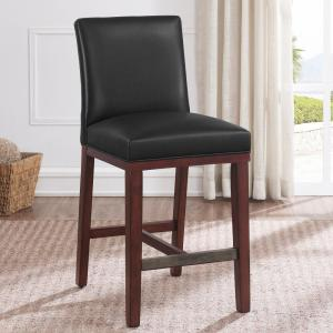 Marvelous Simone 25 In Charcoal Cushioned Leather Counter Stool 3207 Gmtry Best Dining Table And Chair Ideas Images Gmtryco