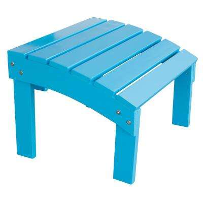 Aruba Blue Wood Outdoor Ottoman Footrest with Painted