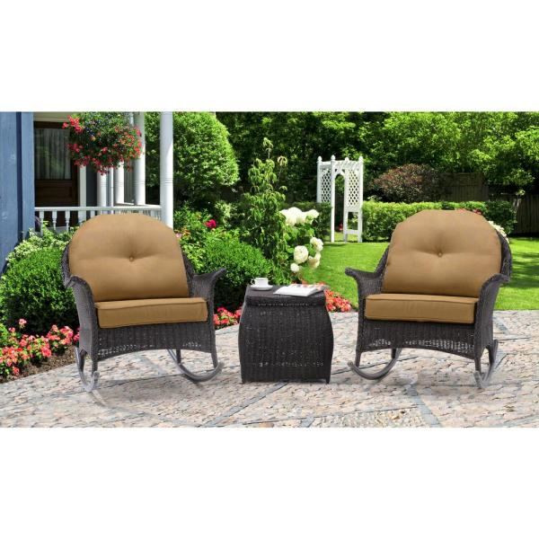 San Marino 3-Piece All-Weather Wicker Patio Rocker Seating Set with Country Cork Cushions