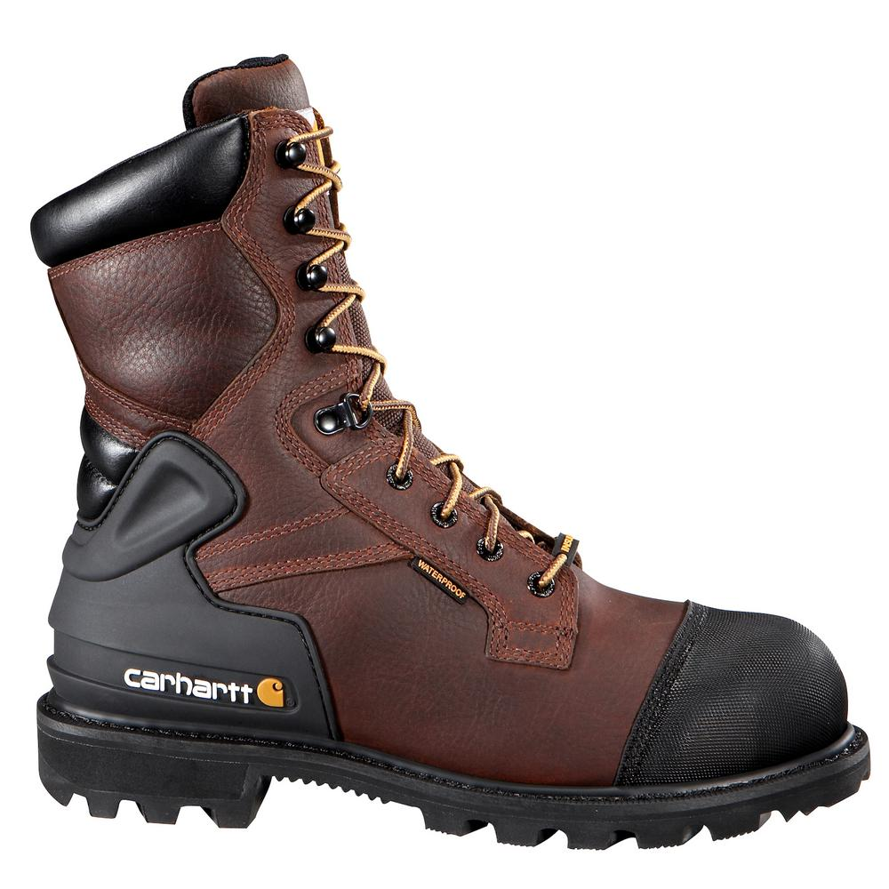 Carhartt Puncture Resistant Men s 15W Brown Leather Waterproof Insulated  Steel Safety Toe 8 in. Work Boot-CMR8859-15W - The Home Depot 504338a3482a