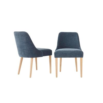 Benfield Natural Wood Upholstered Dining Chair with Charleston Blue Seat (Set of 2) (20.6 in. W x 32 in. H)