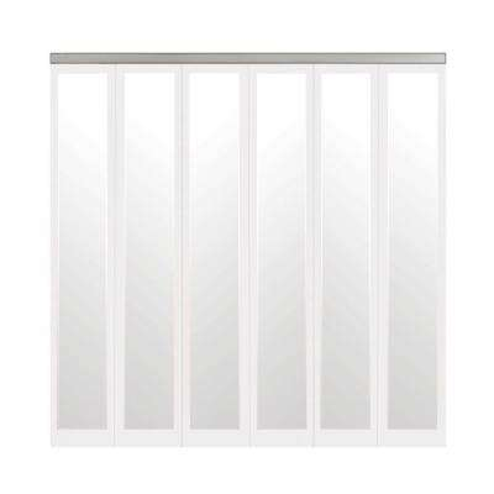 78 in. x 96 in. Mir-Mel White Mirror Solid Core MDF Full-Lite Interior Closet Wood Bi-Fold Door with Chrome Trim