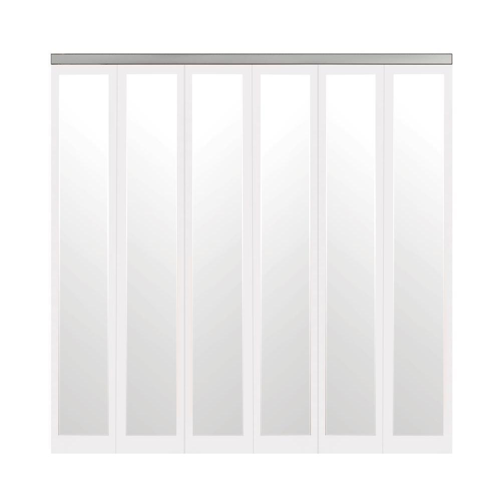102 in. x 80 in. Mir-Mel White Mirror Solid Core MDF Full-Lite Interior Closet Wood Bi-Fold Door with Chrome Trim