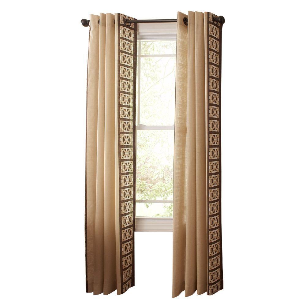 Martha Stewart Living Buckwheat Flour Geo Border Grommet Curtain
