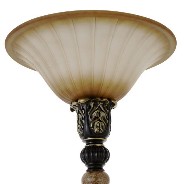 Hampton Bay 71 5 In Dark Oil Rubbed Bronze Torchiere With Marble Accent Jd Au10017 The Home Depot