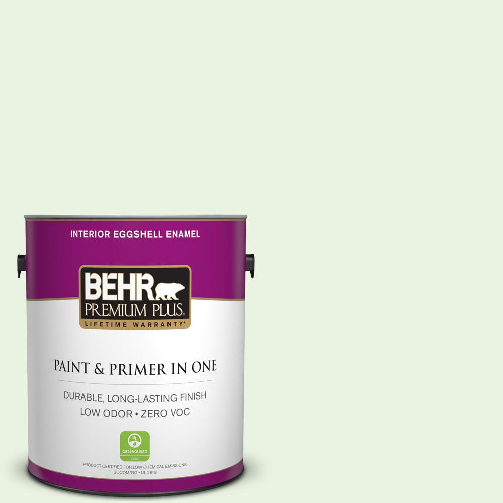 BEHR Premium Plus 1 gal. #P380-1 Magic Mint Eggshell Enamel Zero VOC Interior Paint and Primer in One