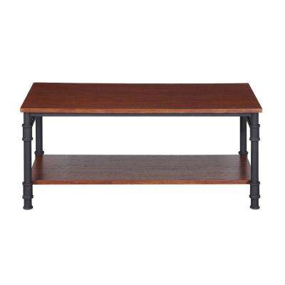 Cagny Industrial Teak Brown Faux Wood and Gray Metal Coffee Table with Shelf