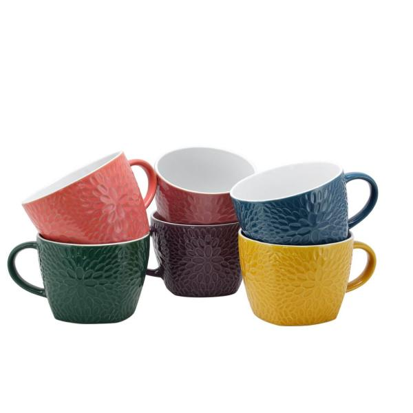 Elama Garden Glee 18 oz. Assorted Color Mugs (Set of 6)