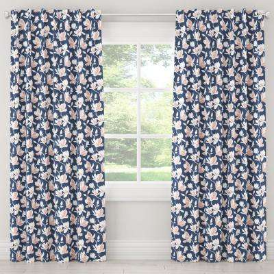 50 in. W x 63 in. L Blackout Curtain in Silhouette Floral Navy Blush