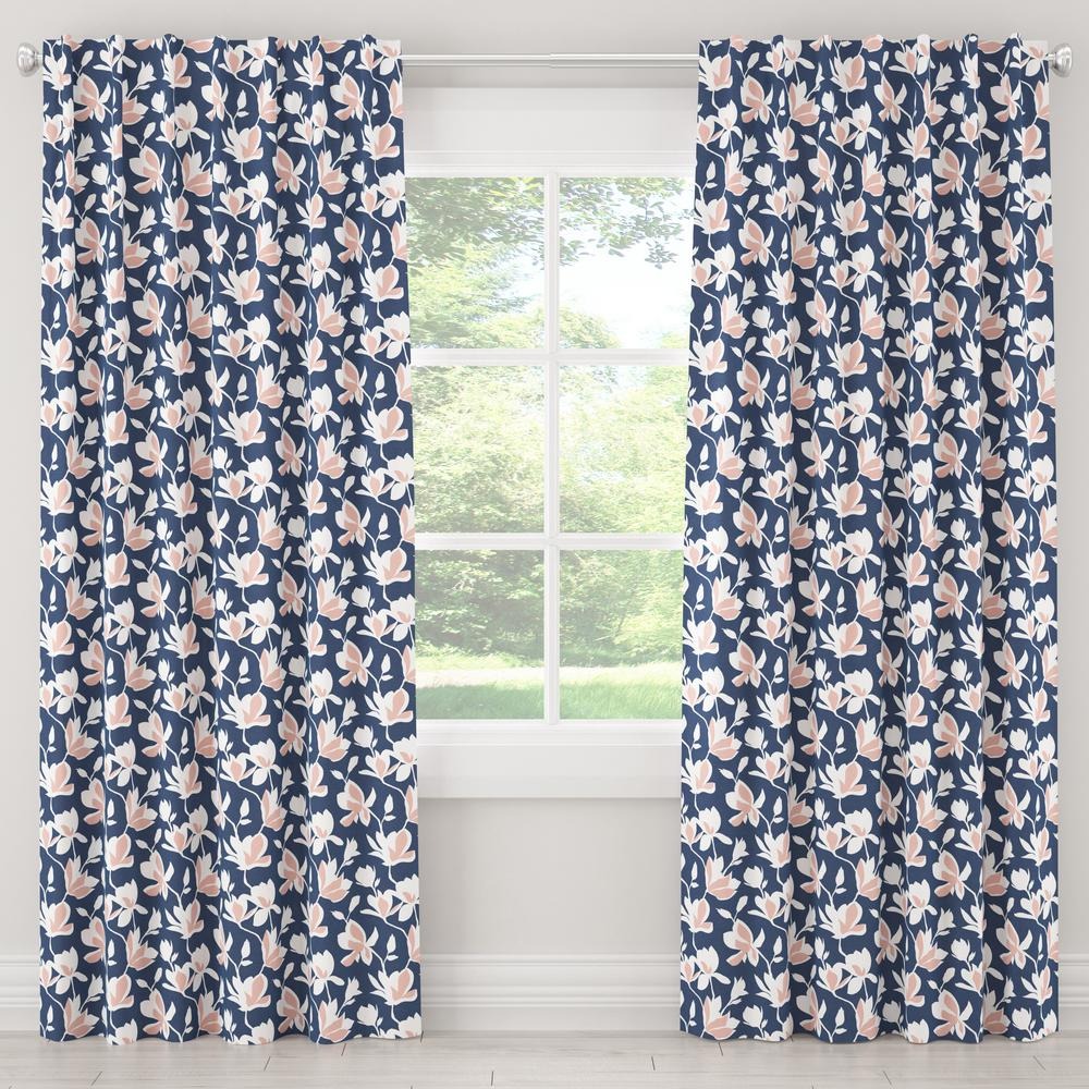 Skyline Furniture 50 in. W x 96 in. L Blackout Curtain in Silhouette Floral Navy Blush