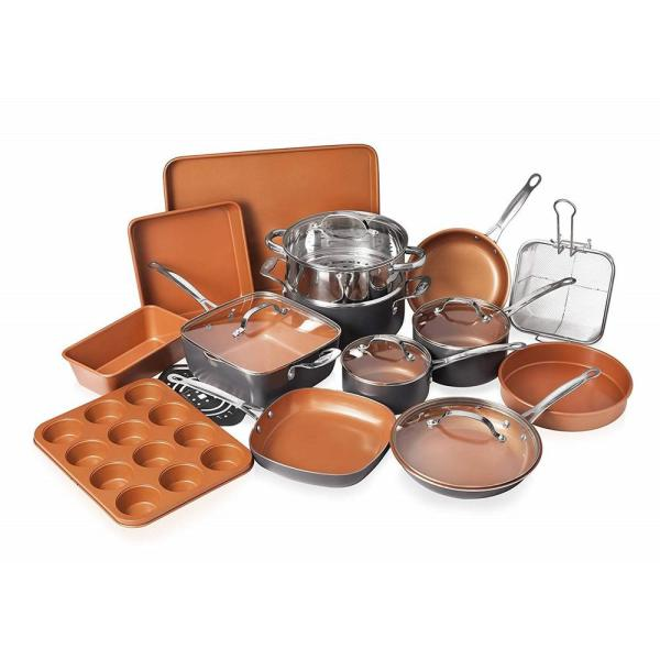 Gotham Steel 20 Piece Non-Stick Ti-Ceramic Cookware Set with Lids and