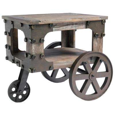 Rustic Industrial Style Wagon Small End Table with Storage Shelf and Wheels