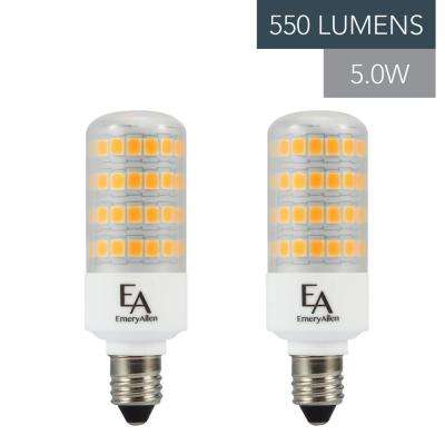 60-Watt Equivalent E11 Base Dimmable 2700K LED Light Bulb Warm White (2-Pack)