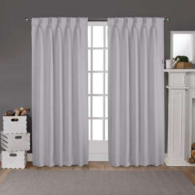Sateen 30 in. W x 96 in. L Woven Blackout Pinch Pleat Top Curtain Panel in Silver (2 Panels)
