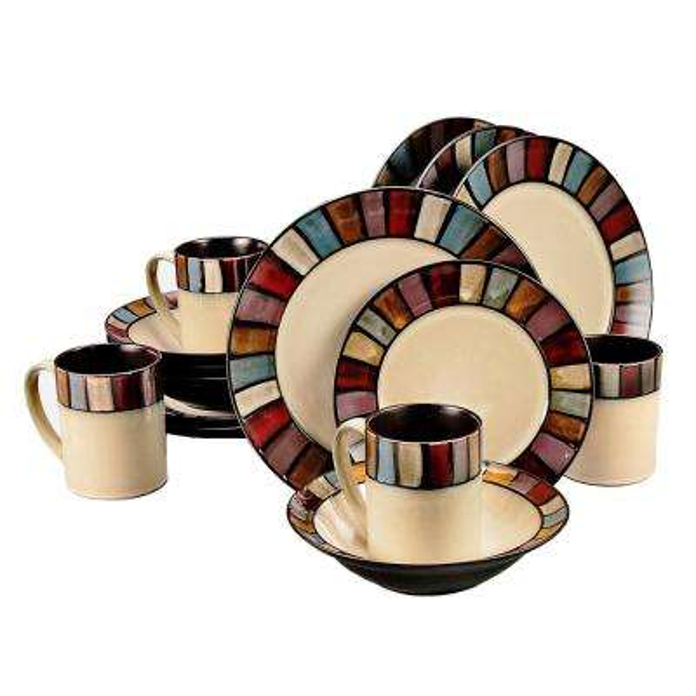 Tabella 16-Piece Multi Color Mosaic Dinnerware Set