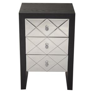 Shelly Assembled 17.7 in. x 17.7 in. x 13 in. Black Wood Raised Accent Storage Cabinet with 3 Mirrored Glass Drawers
